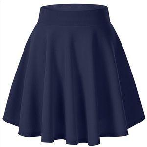 Navy Blue High Waisted Skater Skirt NWOT